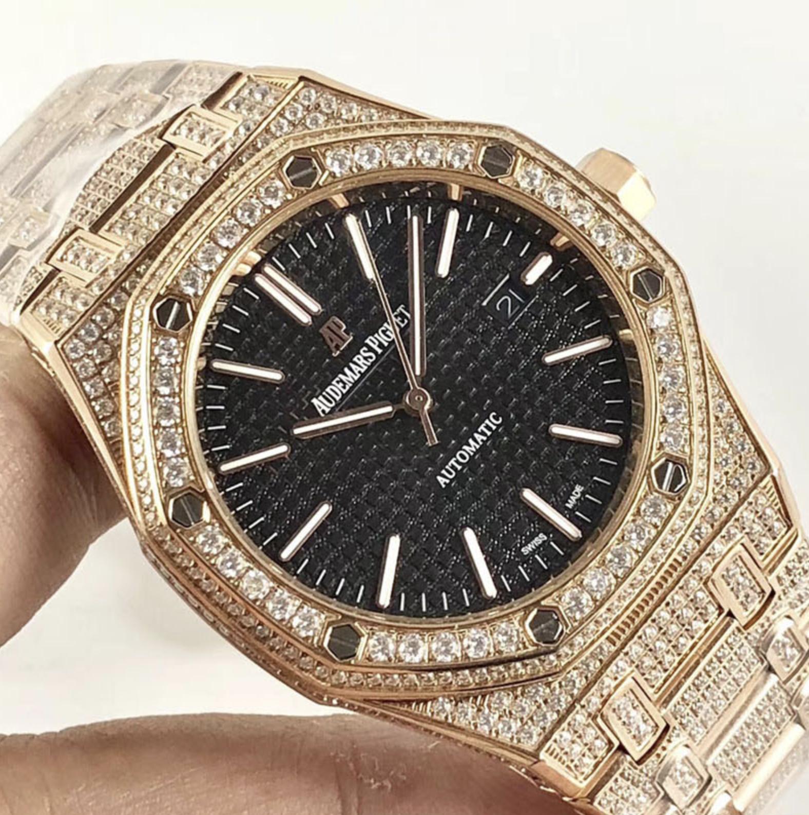 Audemars piguet replica royal oak 15400ST 41mm rose gold full paved diamonds black dial