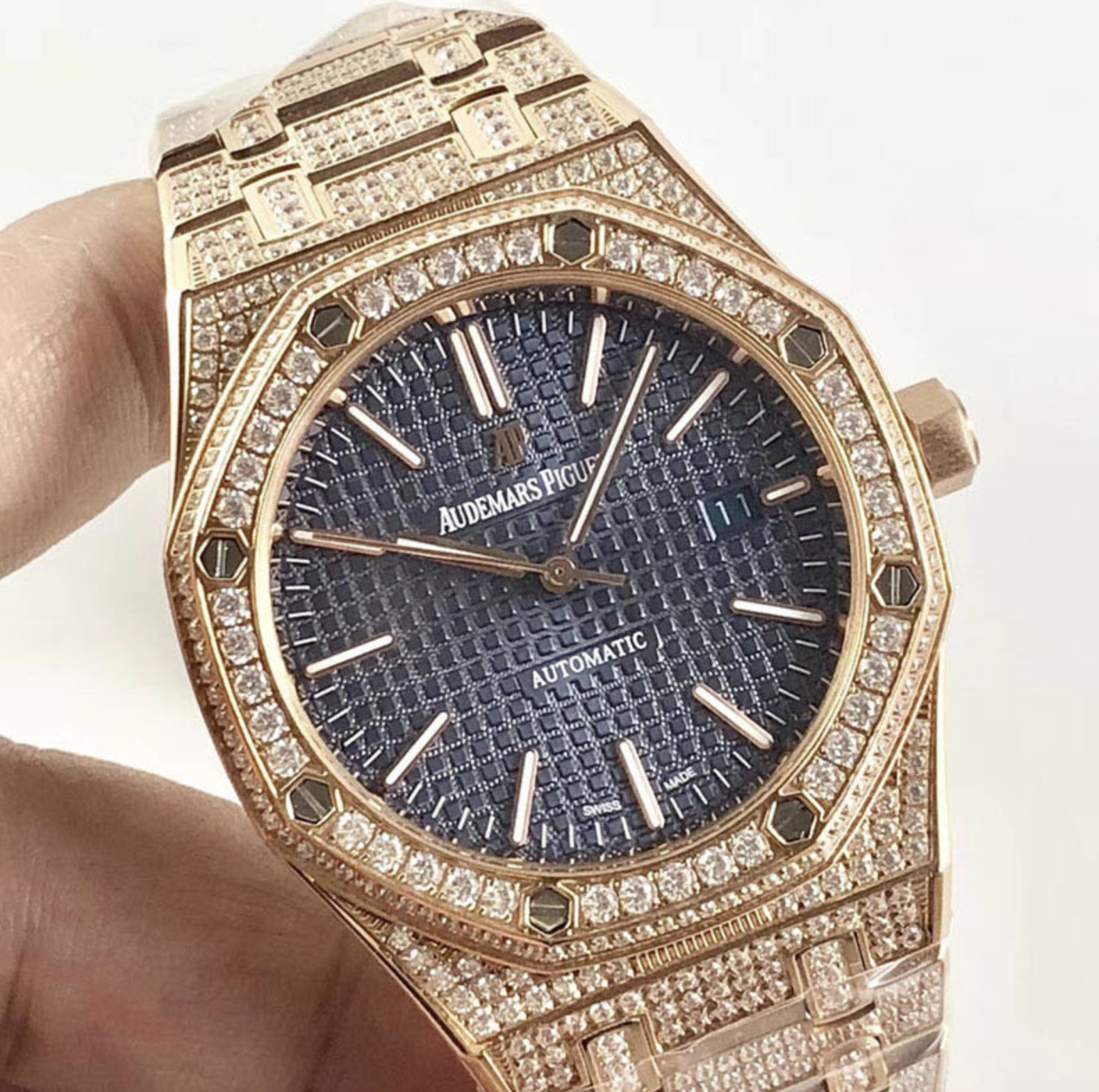 Audemars piguet replica royal oak 15400ST 41mm rose gold full paved diamonds blue dial