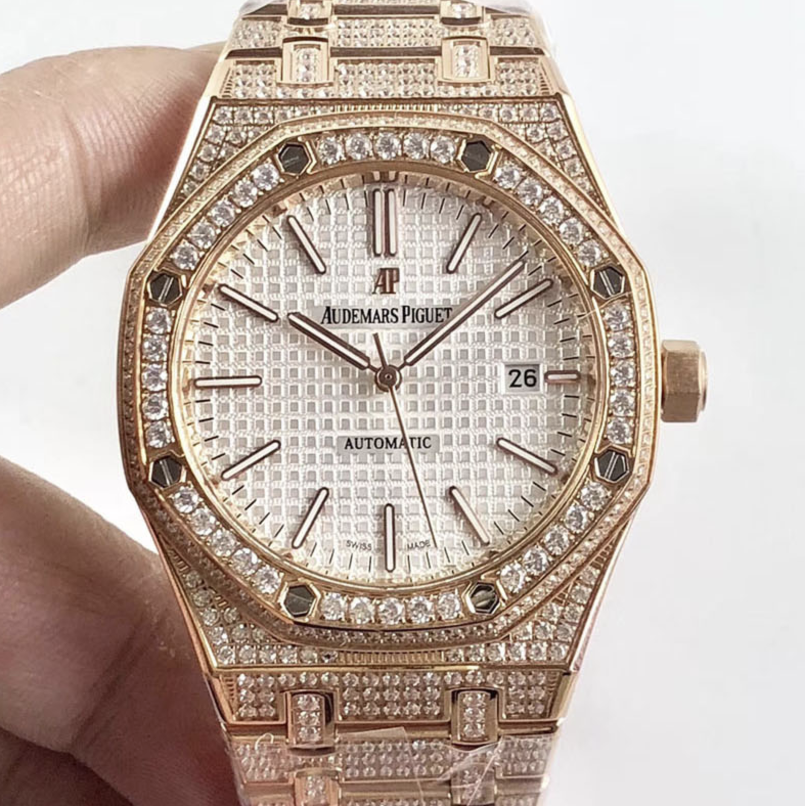 Audemars piguet replica royal oak 15400ST 41mm rose gold full paved diamonds white dial