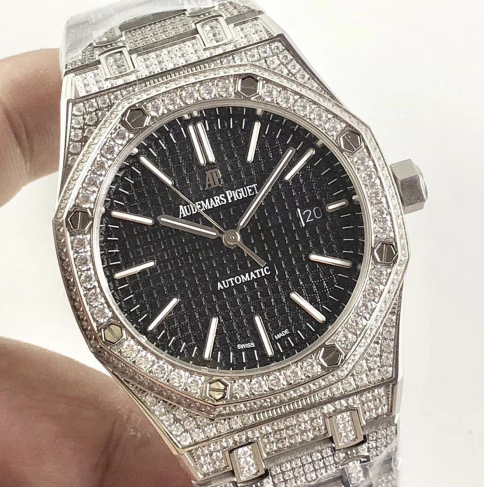 Audemars piguet replica royal oak 15400ST 41mm white gold full paved diamonds black dial